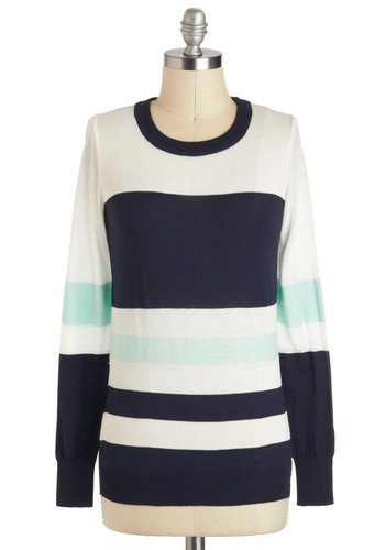 Lay of the Lake Sweater - Mid-length, Multi, Blue, White, Casual, Long Sleeve, Menswear Inspired, Nautical, Crew, Travel