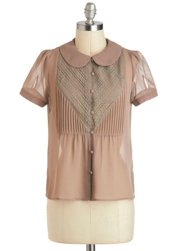 Self A-shirt Top - Mid-length, Tan, Solid, Buttons, Peter Pan Collar, Work, Short Sleeves, Collared, Top Rated