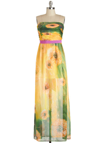 Dandelion Dining Dress - Yellow, Multi, Print, Ruching, Party, Maxi, Strapless, Summer, Long, Wedding, Beach/Resort, Prom, Bridesmaid