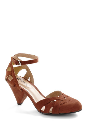 Cinnamon Scones Heel - Brown, Solid, Cutout, Work, Cocktail, Mid, Strappy, Variation, 60s