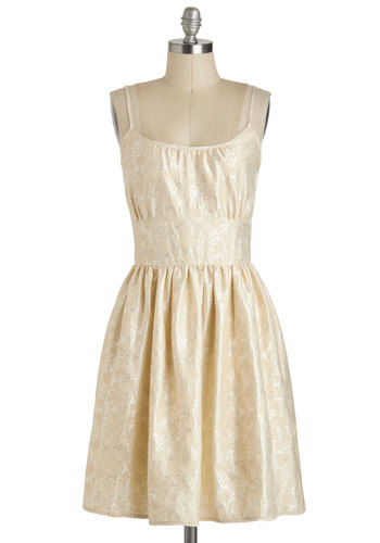 On the Ballroom Dress - White, Wedding, Spaghetti Straps, Fit & Flare, Mid-length, Tan / Cream, Gold, Solid, Pockets, Party, Prom, Bride