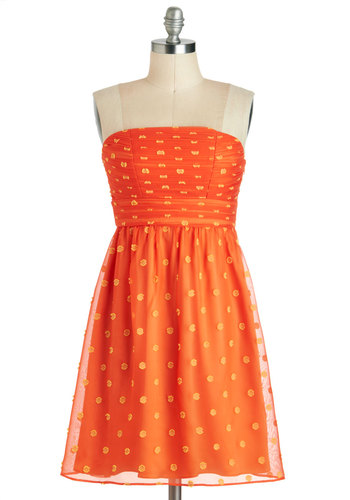 Mango and Mandarin Dress - Orange, Yellow, Polka Dots, Vintage Inspired, Empire, Strapless, Mid-length, Ruching, Party, Summer