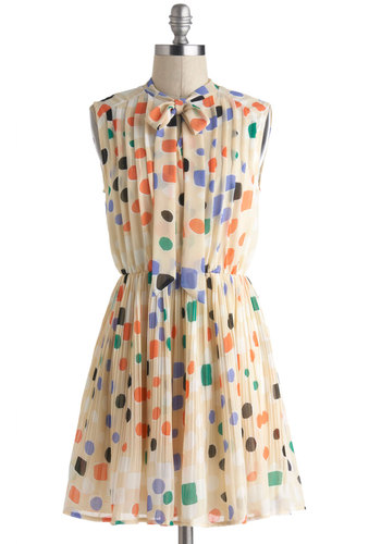 Shape, Senora Dress - Short, Cream, Orange, Green, Purple, Brown, White, Polka Dots, Pleats, Tie Neck, Work, A-line, Sleeveless, Casual, Mod, Graduation