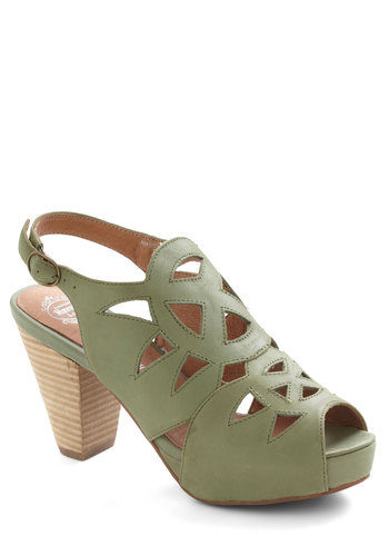 Kelpin' It Real Heel by Jeffrey Campbell - Mid, Leather, Green, Solid, Cutout, Peep Toe, Slingback, Vintage Inspired, 70s