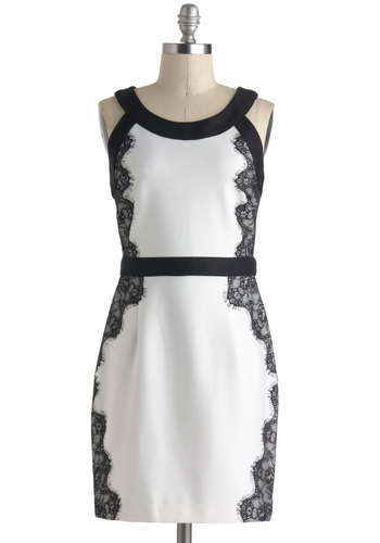 Made to Border Dress - White, Black, Solid, Lace, Party, Sheath / Shift, Sleeveless, Short