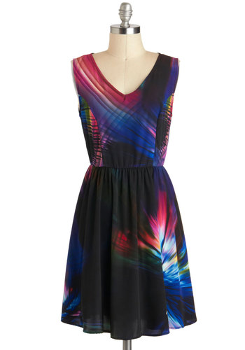 Laser Sunday Afternoons Dress - Short, Black, Red, Blue, Multi, Print, A-line, Sleeveless, V Neck, Party, Variation, Summer