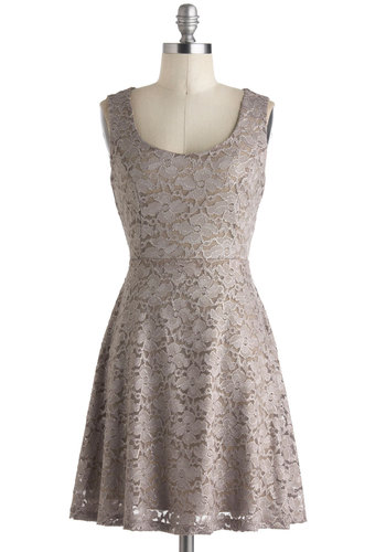 Silver Moon Melodies Dress - Short, Tan, Solid, Backless, Lace, Party, A-line, Tank top (2 thick straps), Scoop, Summer, Lace