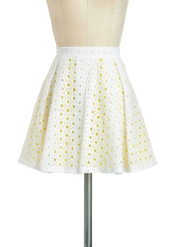 Sun and Clouds Skirt - Cotton, Short, White, Yellow, Eyelet, Daytime Party, A-line, Exposed zipper