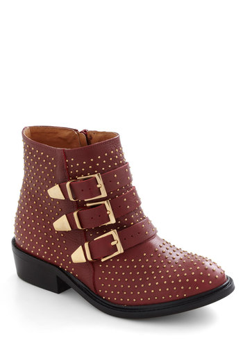 Panache With Purpose Boot - Low, Leather, Red, Gold, Solid, Buckles, Studs, Luxe, Urban
