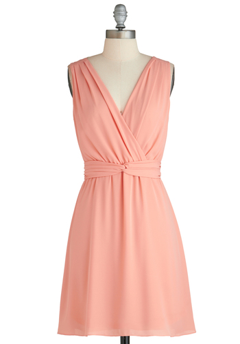 I Pink I Can Dress - Mid-length, Pink, Solid, Party, Sleeveless, V Neck, Exclusives, Graduation, Wedding, Bridesmaid, Summer