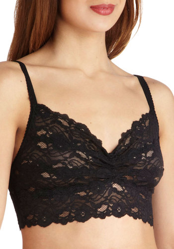Fetching Femme Bralette in Noir - Black, Solid, Lace, Spaghetti Straps, Sheer, Variation, Best Seller, Good, Lace