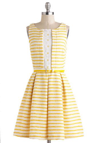 Your Lucky Daisy Dress by Eva Franco - Stripes, Flower, Sequins, Sleeveless, Spring, Belted, White, Fit & Flare, Boat, Mid-length, Luxe, Graduation, Yellow, Daytime Party, Pastel