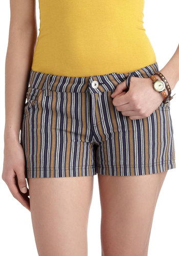 Dime Store Shorts by Jack by BB Dakota - Multi, Blue, Tan / Cream, Stripes, Pockets, Short, White, Casual, Summer