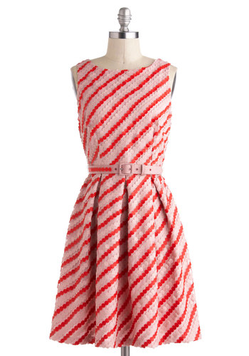 Candy Button Beauty Dress by Eva Franco - Pink, Red, A-line, Sleeveless, Spring, Stripes, Pleats, Belted, Party, Boat, Mid-length, Luxe