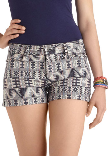 At the Overlook Shorts by Jack by BB Dakota - Multi, Blue, Tan / Cream, Pockets, Casual, Cotton, Beach/Resort, Folk Art, Summer