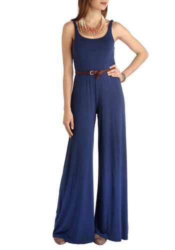The Comforts of Boheme Jumpsuit by BB Dakota - Blue, Solid, Belted, Party, Tank top (2 thick straps), Long, 70s