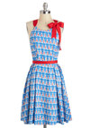 Reef Me Breathless Dress by Eva Franco - Blue, Red, Novelty Print, Bows, A-line, Sleeveless, Pleats, Nautical, Long, Daytime Party, Beach/Resort, Luxe