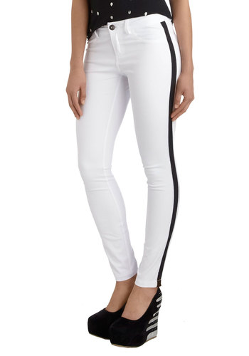 Top of the Drumline Pants by BB Dakota - White, Black, Pockets, Party, Skinny, Girls Night Out, Urban