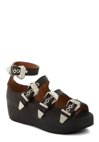 The Road to Strappiness Wedge by Jeffrey Campbell - Low, Leather, Black, Silver, Solid, Buckles, Wedge, Statement, Platform