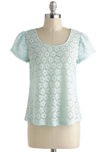 Mint and Greet Top - Mint, Solid, Lace, Short Sleeves, Sheer, Mid-length, Pastel, Summer