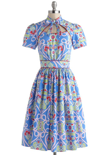 Belle of the Bake Sale Dress by Bernie Dexter - Blue, Multi, Floral, Tie Neck, A-line, Short Sleeves, Spring, Cotton, Long, Daytime Party, Cutout, Summer