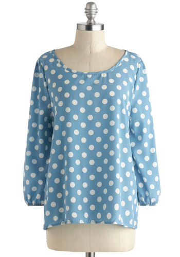 Benefit of the Dot Top - White, Mid-length, Blue, Polka Dots, Long Sleeve, Casual, Blue, Long Sleeve