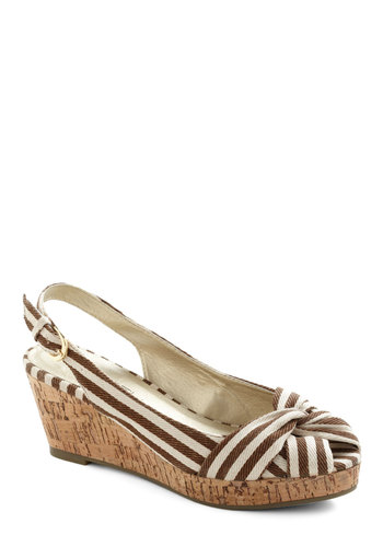 Seaside Snack Wedge in Fudge - Brown, White, Stripes, Wedge, Peep Toe, Slingback, Mid, Beach/Resort, Variation, Nautical, Summer