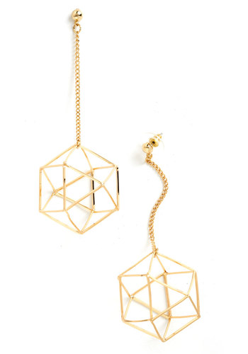 Along Came Polyhedron Earrings - Gold, Solid, Cutout, Minimal, Statement, Quirky