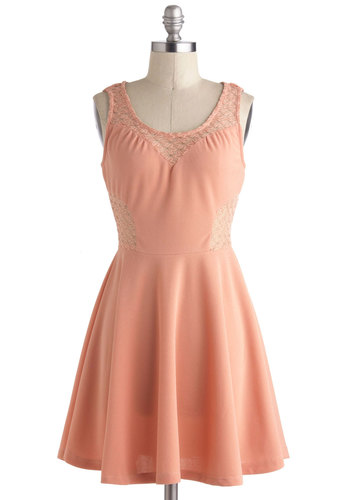 In Love with Lace Dress - Pink, Solid, Lace, Pleats, A-line, Sleeveless, Sheer, Short, Party, Exposed zipper, Fairytale, Scoop, Summer