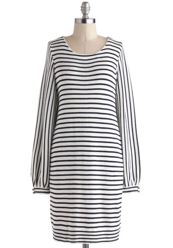 Bayside Cafe Dress - Black, Stripes, Casual, Shift, Long Sleeve, Mid-length, White, Buttons, Pockets, Nautical