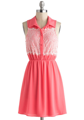 Gotta Guava Dress - Pink, White, Solid, Lace, Casual, Sleeveless, Collared, Short, Buttons, Shirt Dress, Summer