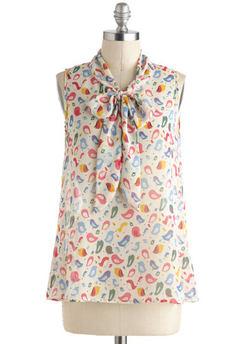 Chirp Thing's First Top - Multi, Yellow, Green, Blue, Pink, White, Print with Animals, Tie Neck, Kawaii, Sleeveless, Sheer, Mid-length, Work, Daytime Party, Summer