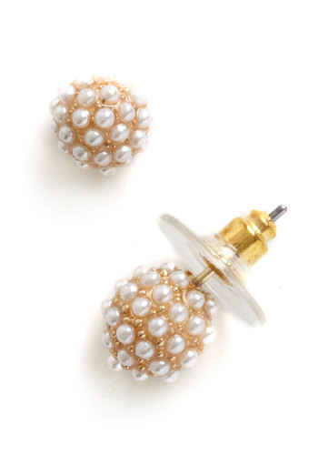 Have a Ball Earrings - Cream, Solid, Pearls, Luxe, Graduation, Bridesmaid, Formal, Bride, Gold, Top Rated