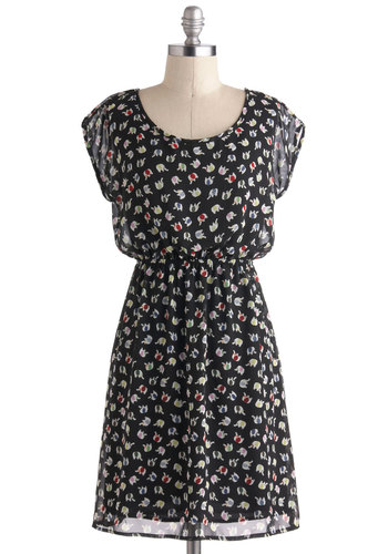 Dress-Up Trunk Dress - Print with Animals, Mid-length, Black, Multi, Casual, A-line, Cap Sleeves
