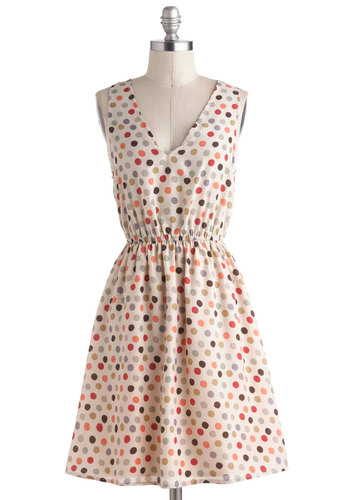 Interior Designer Dress - Mid-length, Cream, Multi, Polka Dots, Casual, A-line, Tank top (2 thick straps), V Neck