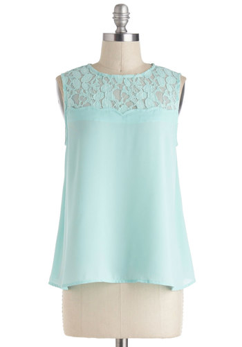 Airy Princess Top in Mint - Green, Solid, Lace, Sleeveless, Daytime Party, Chiffon, Sheer, Mid-length, Pastel, Spring, Summer