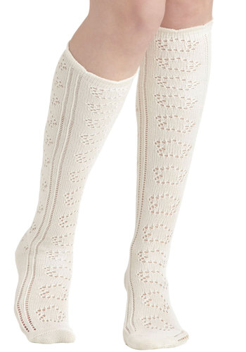 It's Tall About You Socks in Cream by PACT - Cream, Solid, Cutout, Eco-Friendly, Cotton