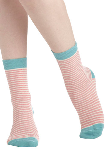 Skippin' in Stripes Socks by PACT - Blue, Stripes, Pink, White, Eco-Friendly