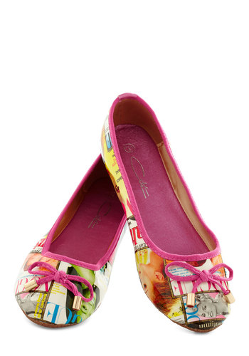 Follow My Lede Flat - Pink, Multi, Bows, Flat, Novelty Print, Casual, Quirky, Variation, Travel