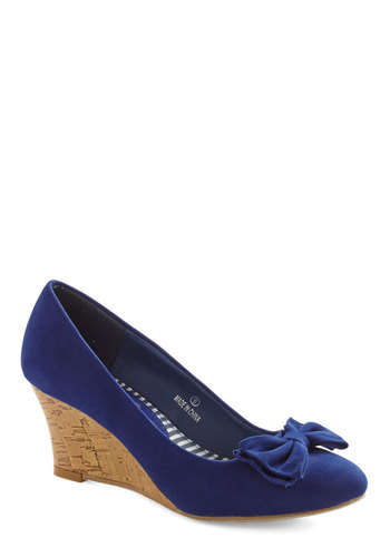 Sapphire in Your Heart Wedge - Mid, Blue, Bows, Work, Nautical, Wedge