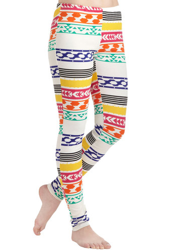 Create a Colorful Path Leggings - Multi, Yellow, Green, Blue, Pink, Print, Casual, Skinny, 80s, Travel