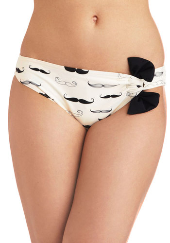 Splish, 'Stache Swimsuit Bottom - White, Black, Novelty Print, Bows, Quirky, Summer