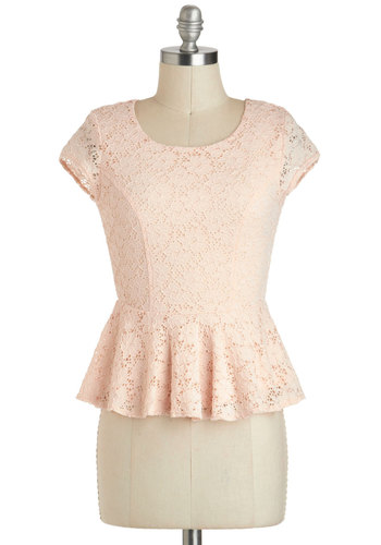 Delight If I Might Top - Pink, Lace, Party, Work, Daytime Party, Vintage Inspired, Fairytale, Short Sleeves