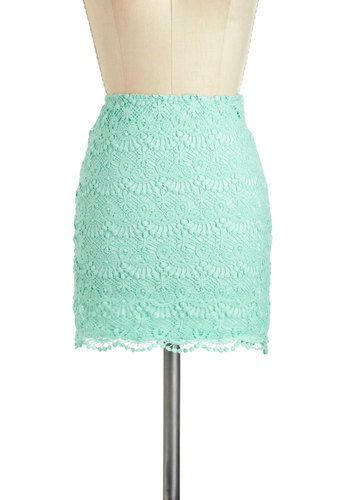 Seafoam Scallop Skirt - Blue, Solid, Crochet, Daytime Party, Pencil, Scallops, Pastel, Cotton, Short