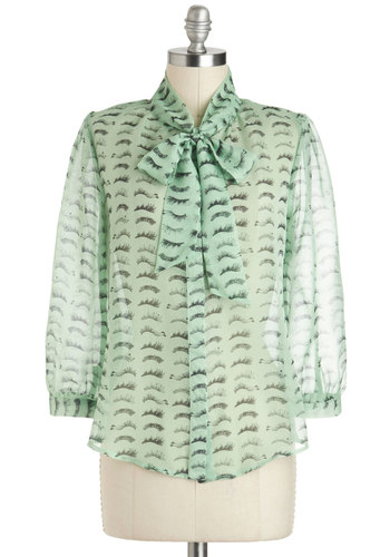 Lash Before My Eyes Top - Mint, Bows, Tie Neck, Pastel, Quirky, Long Sleeve, Novelty Print, Work, Sheer, Exclusives, Black, Green, 3/4 Sleeve, Mid-length
