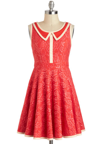 500 Days of Shimmer Dress in Coral - Pink, White, Peter Pan Collar, Party, Vintage Inspired, A-line, Sleeveless, Mid-length, Coral, Solid, Collared