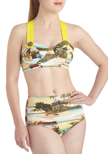 Poolside Paradise Two Piece in Photographs - Yellow, Multi, Print, Buttons, Pinup, High Waist, Summer, Beach/Resort