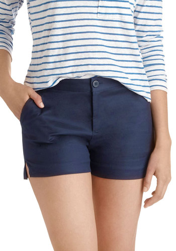 It's All Linen Up Shorts by BB Dakota - Blue, Solid, Pockets, Daytime Party, Beach/Resort, Nautical, Pinup, Casual