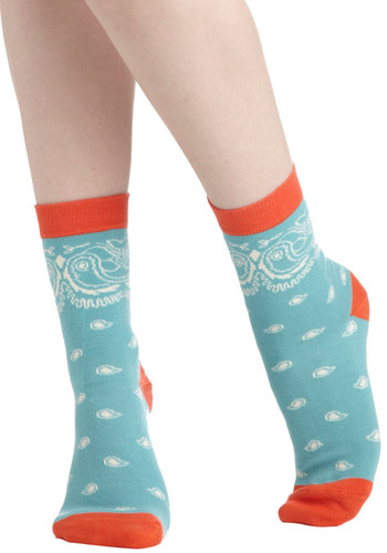 Prancing in Paisley Socks by PACT - Blue, Red, White, Print, Paisley, Eco-Friendly