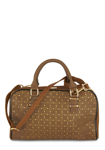 Cutout for the Job Bag - Brown, Eyelet, Tan / Cream, Print, Casual, Faux Leather